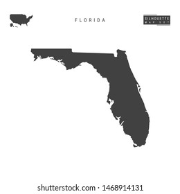 Florida US State Blank Map Isolated on White Background. High-Detailed Black Silhouette Map of Florida.
