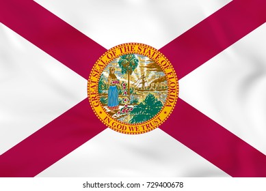 Florida waving flag. Florida state flag background texture. Raster copy.