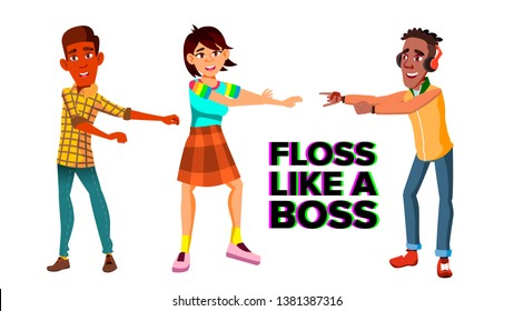 Floss Like Boss Web Banner Template. Young Men And Women Dancing Floss Characters. Teenagers Performing Modern Trendy Dance. Multiethnic Students, Friends Having Fun Flat Illustration