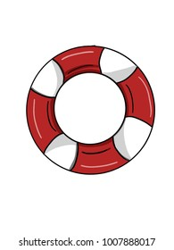 flotation ring cartoon illustration drawing and white back ground