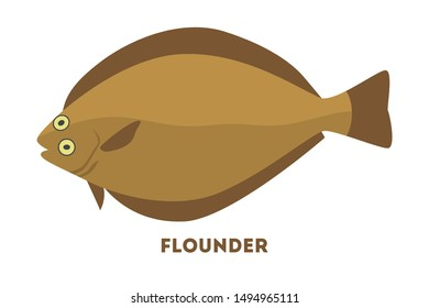 Flounder fish from the sea or ocean. Seafood and fishing. Marine creature. Flat illustration