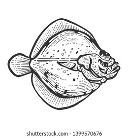 Flounder flatfish plaice fish animal sketch engraving raster illustration. Scratch board style imitation. Black and white hand drawn image.