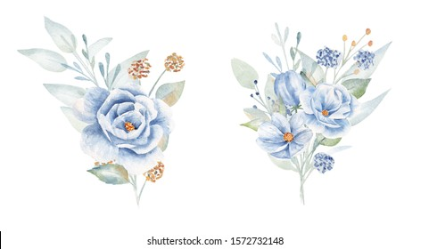 Flourish boutonnieres hand drawn aquarelle illustrations set. Floral compositions, buttonholes pack. Decorative flax and heliotrope bouquet watercolor drawings collection isolated on white background