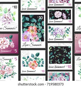 Watercolor Postage Stamps Images, Stock Photos & Vectors