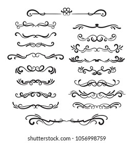 Flourishes vintage. Ornamental borders and dividers, filigree ornament swirls. Victorian decoration elements.