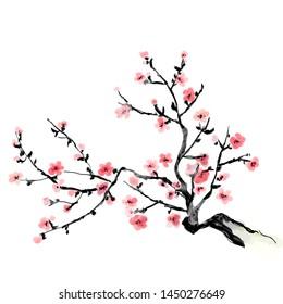 A flourishing branch of cherry, painting. Japanese art.  Bitmap illustration