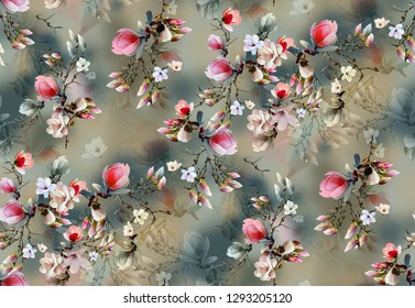 Flower Allover Colour Pattern Image Digital Colourful Graphics Cute - Illustration