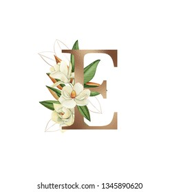 Flower alphabet, magnolia watercolor