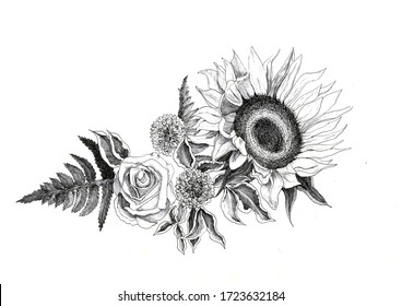Flower arrangement drawn in a graphic on a white background