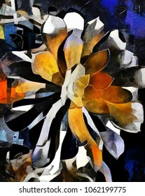 Flower arrangement in the style of abstract cubism. The picture is made by oil on canvas with elements of acrylic painting.