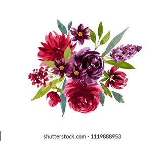 flower arrangement, watercolor, burgundy flowers