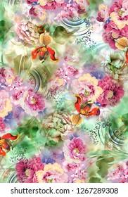 Flower Background Color Pattern Image Cute Graphics Digital Vintage Colorful