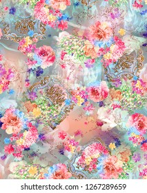Flower Background Color Pattern Image Cute Graphics Digital Vintage Colorful Cute