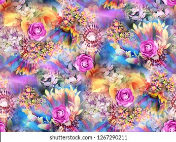 Flower Background Color Pattern Image Cute Graphics Digital Vintage Colourful