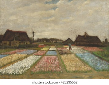 Flower Beds in Holland, by Vincent van Gogh, 1883, Dutch Post-Impressionist painting, oil on canvas. Also called the 'Bulb Fields,' it was Van Gogh's first garden painting.