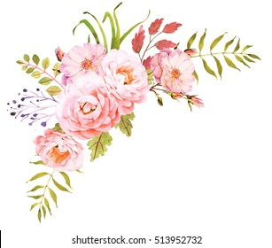 FLower bohemian bouquet. Decorative composition for wedding bohemian invitation and save the date card. Watercolor illustration