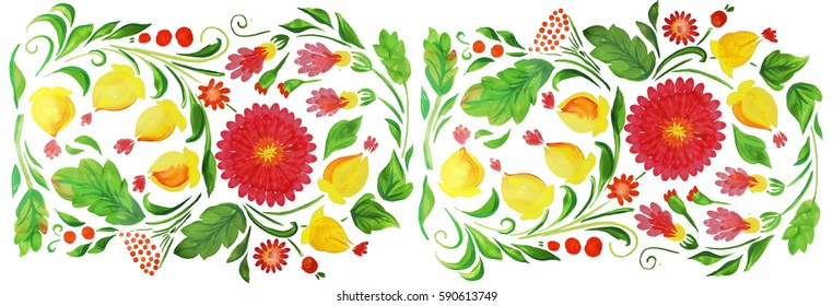 17ef94bbcbc6 A flower border. The artwork. The pattern of the national Slavic. Bright  floral