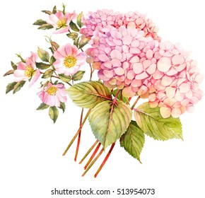 Flower bouquet. Hydrangea and rose bush in blossom. Watercolor illustration
