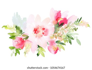 Flower branch on a white background. Watercolor peonies, tulips