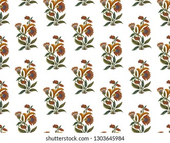 flower buta print with white background