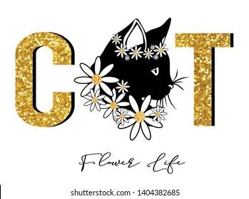 flower cat,baauty ,for t-shirt slogan