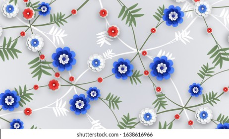 Flower chaotic ornament. Bright blue, red, white colors. 3D Render floral texture. Leaves and flowers grow on curvy diagonal lines. Flower branches. Blooming pattern. Seasonal abstract Illustration