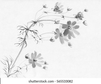 flower chinese ink painting