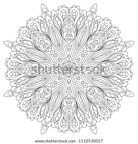 35f4f3849e Flower circular mandala for adults. Coloring book page design. Anti stress  black and white vintage decorative element. Monochrome oriental ethnic  pattern.