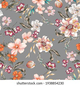 Flower colorful illustration pattern seamless texture with leaves, botanic plants and branch jungle. Floral peony, lily, tulip, daisy colorful on grey background.