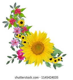 Flower composition. A bouquet of yellow sunflowers, bright crimson flowers, green leaves. Isolated on white background.
