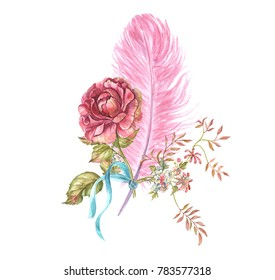 Flower composition with feather in the style of Marie Antoinette