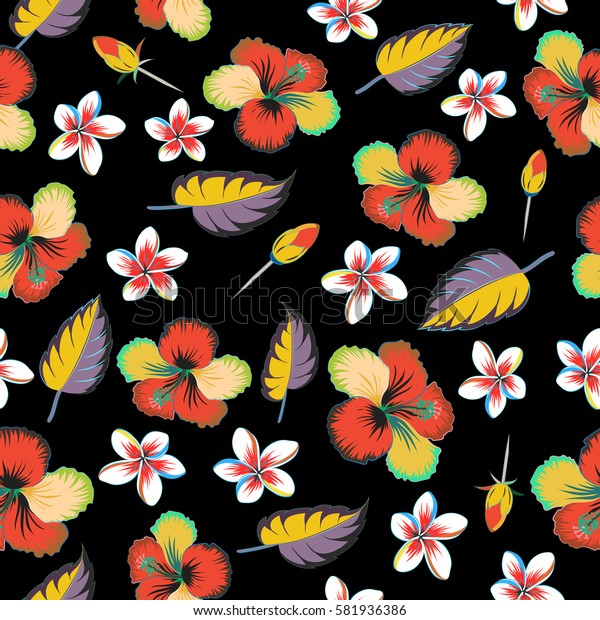 Flower concept on a black background. Multicolor floral pattern can be used for wallpaper, website background, wrapping paper. Summer design. Leaf natural multicolored pattern.