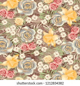 Flower  Digital Fabric Design wit grey  background