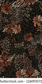 flower and ethnic abstrac pattern