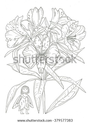 Flower Fairy Coloring Page Stock Illustration 379577383 - Shutterstock