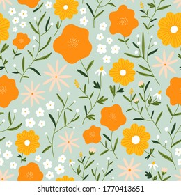 Flower field on mint background, orange, pink and white flowers, seamless pattern illustration