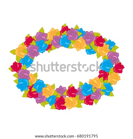 5cc69ad861 Flower frame. Circle wreath of different blossoms. Green leaves. Colourful  selection of flowers