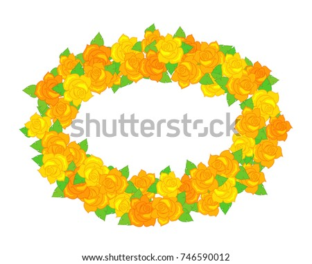 fe60028f5b Flower frame. Oval wreath of different blossoms. Green leaves. Colourful  selection of flowers