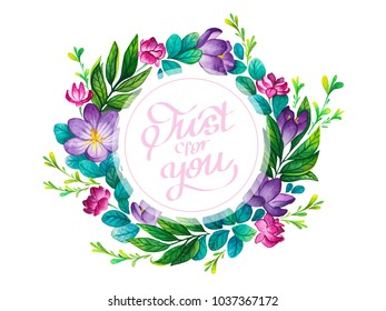 Flower frame. Spring flowers. Summer flowers for background, texture, wrapper pattern, frame or border. Wildflower rose flower frame in a watercolor style. Handwritten frame.