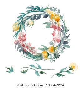 Flower garland, aquarel painting