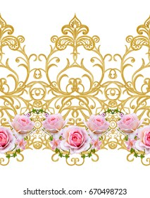 Flower garland of pink roses. Seamless pattern. Golden textured curls. Oriental style arabesques. Brilliant lace. Openwork weaving delicate.