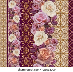 Flower garland of roses in gold braiding. Vertical floral border. Pattern, seamless. Old style,  mosaic.