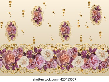 Flower garland of roses in gold braiding. Horizontal floral border. Pattern, seamless. Old style, mosaic.