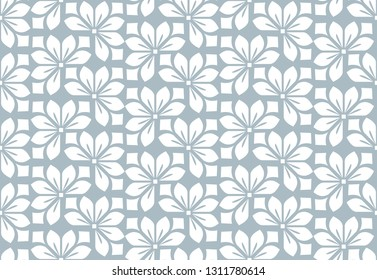 Flower geometric pattern. Seamless background. White and blue ornament. Ornament for fabric, wallpaper, packaging, Decorative print