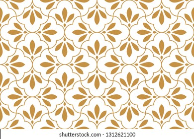 Flower geometric pattern. Seamless background. White and gold ornament. Ornament for fabric, wallpaper, packaging, Decorative print