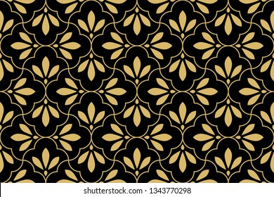 Flower geometric pattern. Seamless background. Gold and black ornament. Ornament for fabric, wallpaper, packaging, Decorative print