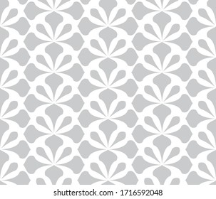 Flower geometric pattern. Seamless background. White and grey ornament. Ornament for fabric, wallpaper, packaging. Decorative print.