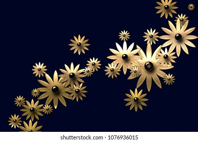 Flower golden pattern on the dark blue background. Decorate ornate blank for postcard or greeting card with diagonal floral line in gold color with glossy circle middle of flowers with shiny petals.