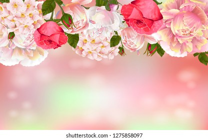 Flower greeting card. Floral design for natural cosmetics, perfume, women products, invitation, sales, packaging, perfume. Space for text.