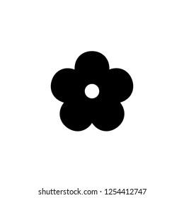 Flower icon. Black floret silhouette. Simple floral glyph.
